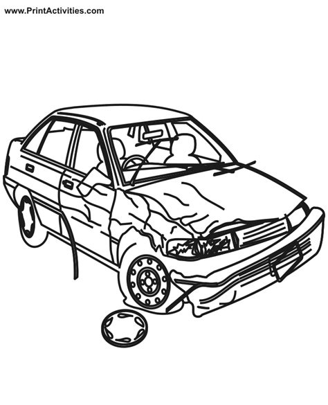 wrecked car drawing car coloring page wrecked car