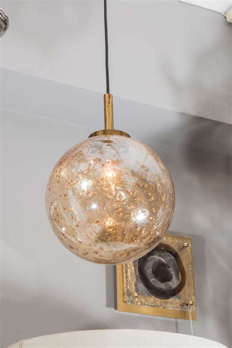 Blown Glass Pendant Lights Venetian Glass Gold Flake Blown Sphere Light Pendant At 1stdibs