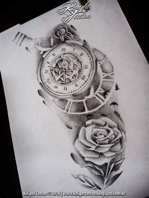 tattoo design clock clock surreal sketch rel 211 gio e flores pinterest