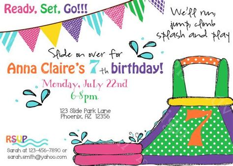 free printable birthday invitations water water slide birthday party invite printable party by