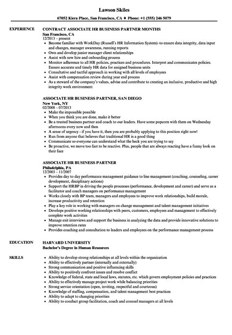 Hr Business Partner Resume by Associate Hr Business Partner Resume Sles Velvet