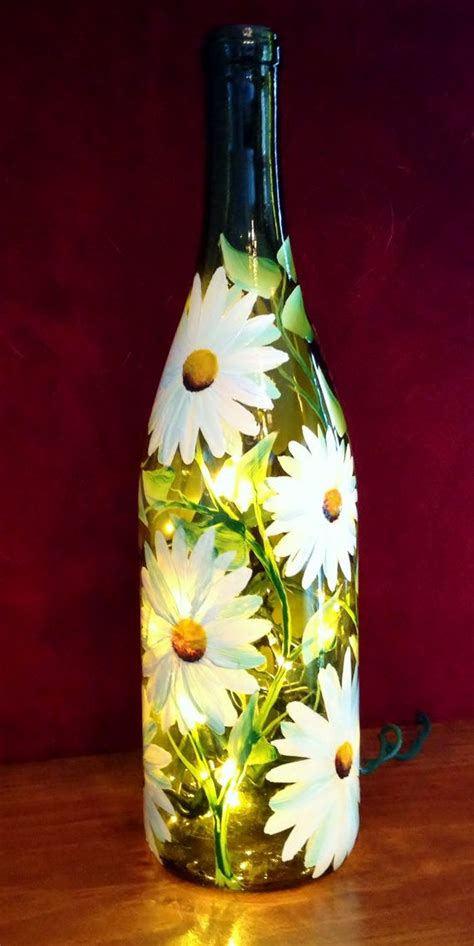 daises hand painted on wine bottle l