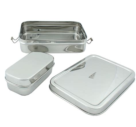 Gig Baby Rectangle Lunchbox large rectangular stainless steel lunchbox with mini one green bottle