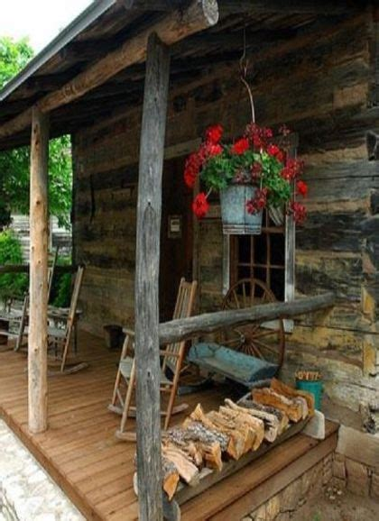 cabin porch cabin porch with wood piled by rail the porch pinterest