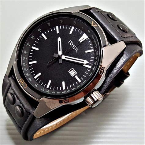 jual jam tangan pria fossil cb leather full black pusat