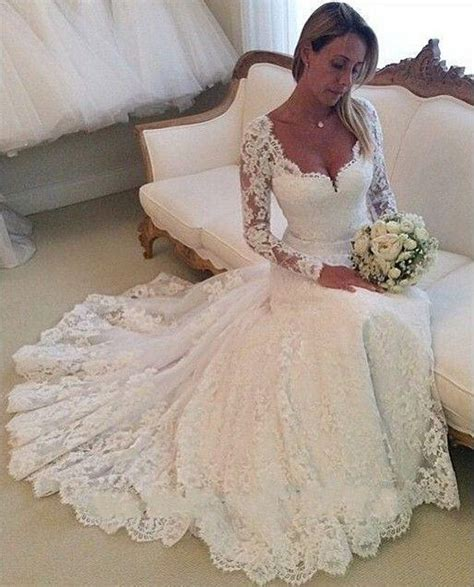buy  lace wedding dresses long sleeves mermaid wedding gowns sweetheart