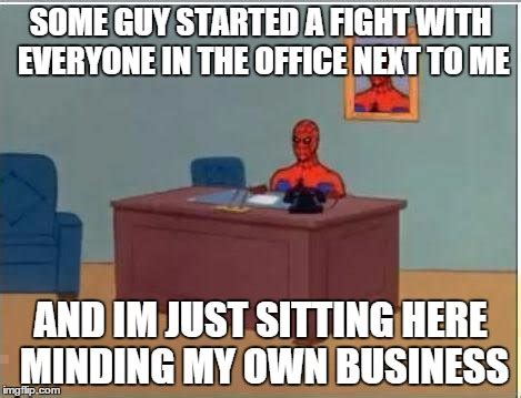 Spiderman Office Meme - spiderman computer desk meme imgflip