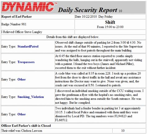 security officer daily activity report template security patrol report template security officer daily log