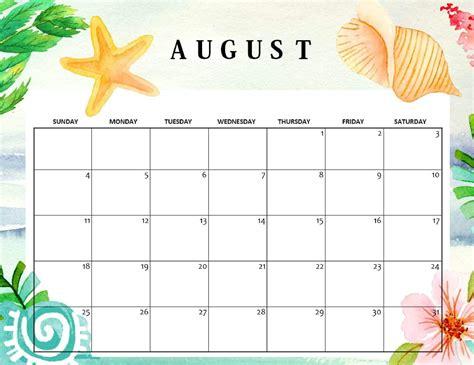 cute august  calendar  printable calendar shop