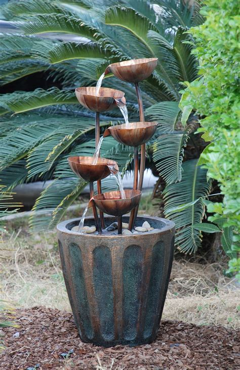 Planter Water by Five Copper Bowls In Planter Water Feature
