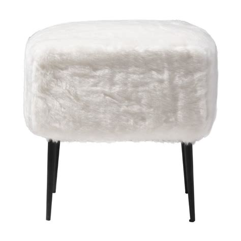 White Foot Stool by Zuo Fuzz Foot Stool In White 100192
