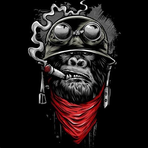 military smoking gorilla in helmet with red bandana tattoo