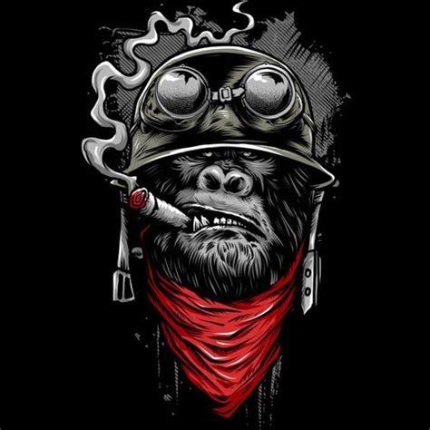 military smoking gorilla in helmet with red bandana tattoo