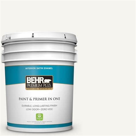 behr premium plus 5 gal 75 polar satin enamel interior paint 705005 the home depot