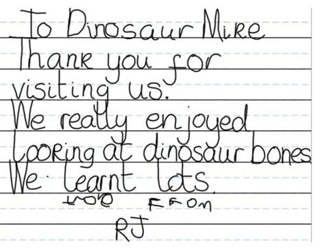 thank you letter to reception helping a reception class with writing everything dinosaur