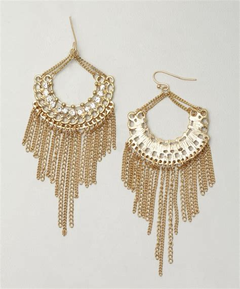 Gold Fringe Chandelier Sparkling Gold And Fringe Chandelier Earrings In Metallic Lyst
