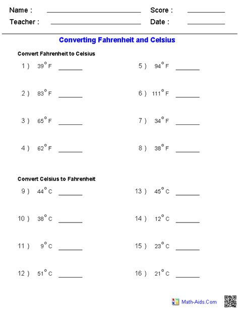 Conversion Problems Worksheet by Measurement Worksheets Dynamically Created Measurement Worksheets