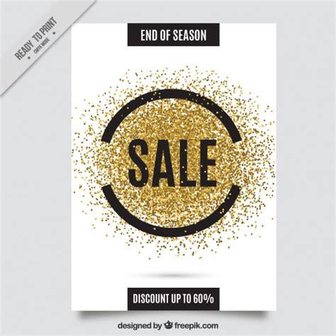 golden glitter sale flyer vector free download