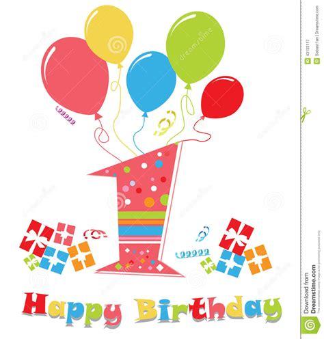 clipart auguri primo compleanno illustrazione vettoriale illustrazione