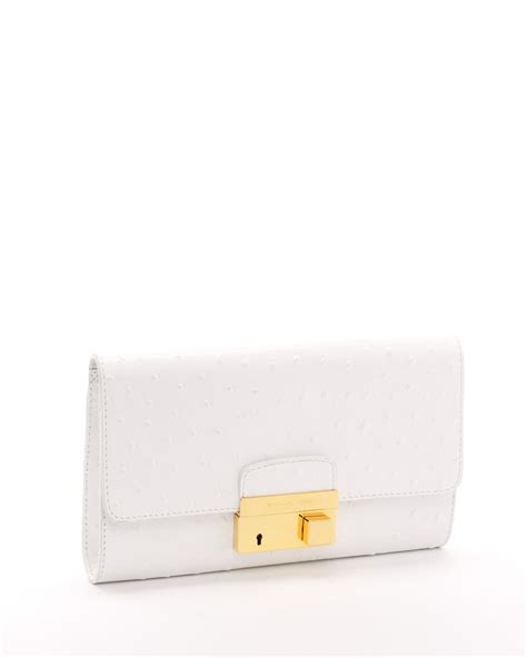 White Clutch michael kors ostrich embossed leather clutch optic white in white lyst