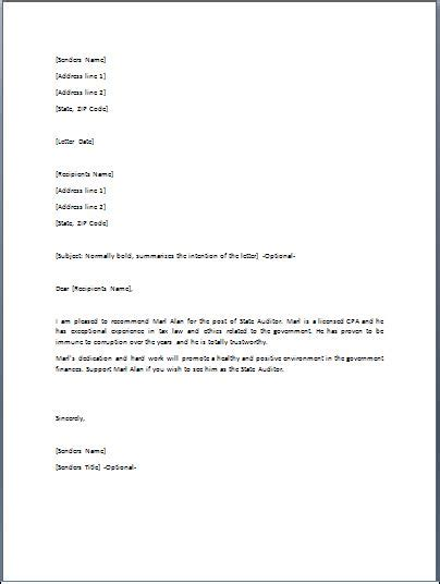 Financial Endorsement Letter Sle Endorsement Letter Template Formal Word Templates