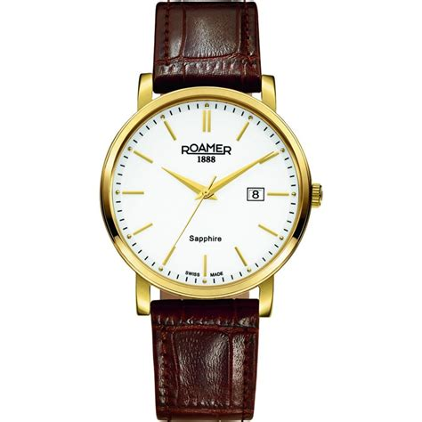 roamer classic line gent s gold plated brown leather