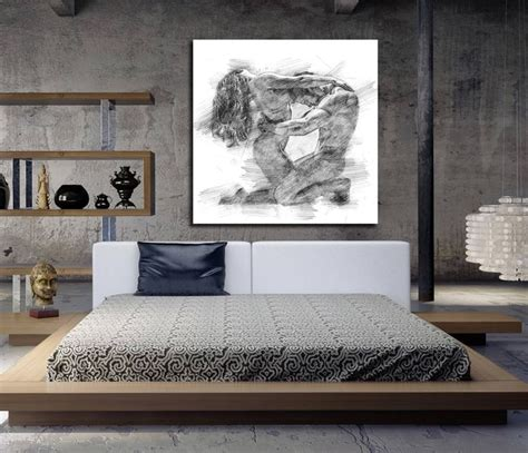 sensual paintings for the bedroom canvas art his hers bedroom wall art abstract art print