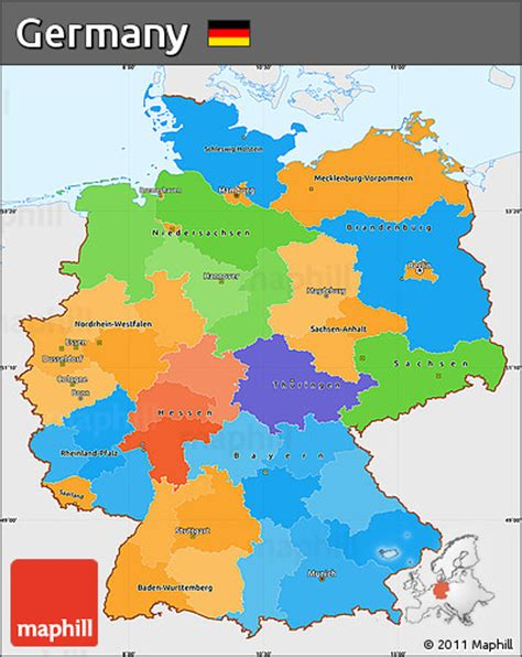 germany map political free political simple map of germany single color outside