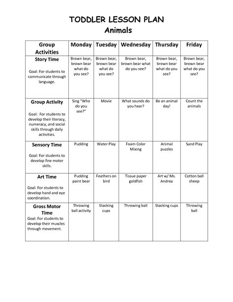 Printable Blank Lesson Plan Sheets