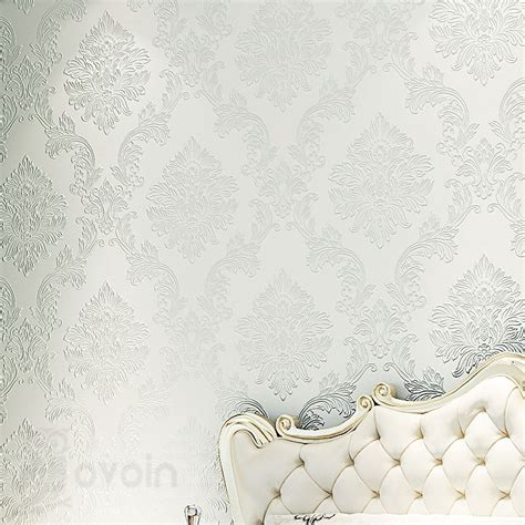 luxury flocking textured wallpaper modern wall paper roll luxury western style classic design shell damask 3d
