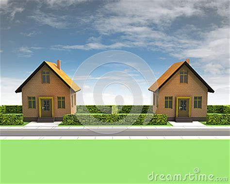 two houses two houses in neighborhood with blue sky royalty free