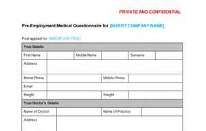 medical questionnaire pre employment template bizorb