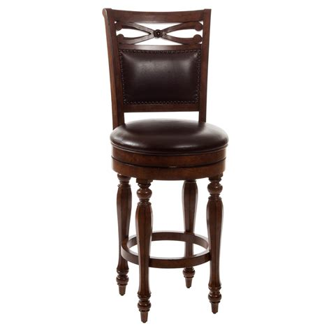 wooden bar stools with backs that swivel carved wood swivel bar stool with leather back decofurnish