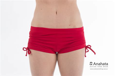 Womens Yoga Short Tie Side Red Anahata Active Yoga Wear