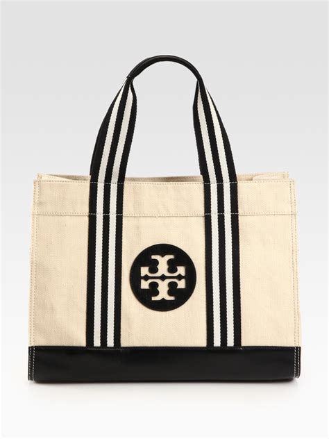 Tory Burch Gift Card Online - tory burch tory canvas leather tote bag in khaki lyst
