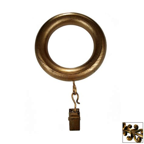curtain rod rings with clips shop bcl drapery 7 pack antique gold wood curtain rod clip