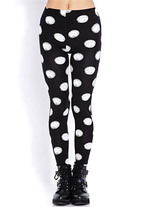 Legging Polkadot White forever 21 sketched polka dot in white black white lyst