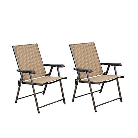 Folding Patio Chair Hawthorne Folding Sling Chairs Set Of 2 Bed Bath Beyond
