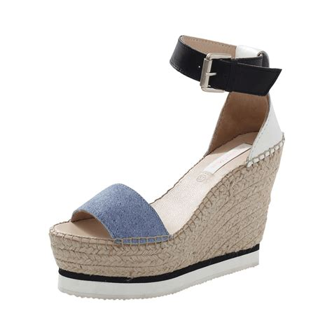 Sandal Deo 3 Marc Stuart Shoes lyst see by chlo 233 glyn denim espadrille wedge in blue