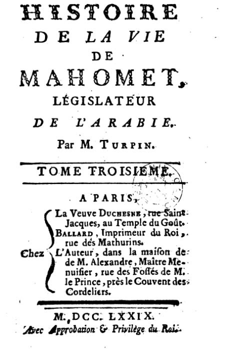 Turpin Francois-Henri - Histoire de la vie de Mahomed