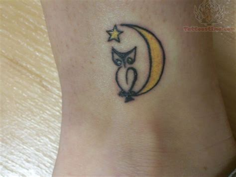owl and moon tattoo yellow tattoos