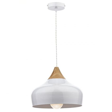 Modern White Pendant Lighting Nordic Style Gloss White Ceiling Pendant Light With Wood Detailing