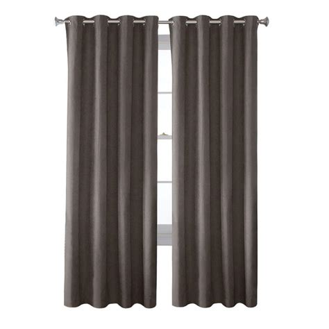 grey grommet curtains solaris black media back tab curtain 1622298 the home depot