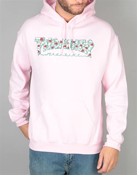 light pink hoodie s thrasher roses pullover hoodie light pink skate