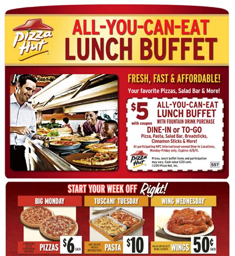 Pizza Hut 5 Lunch Buffet Printable Coupon All You Can Eat Lunch Buffet