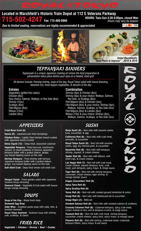 royal tokyo japanese teppanyaki hibachi menu