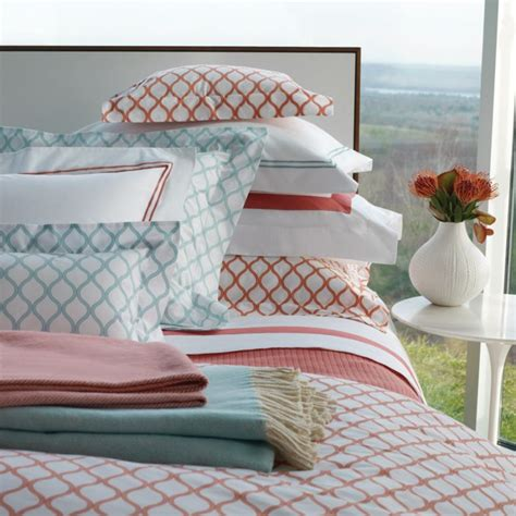 graphic comforters sferra andover graphic print bedding in salmon or aqua
