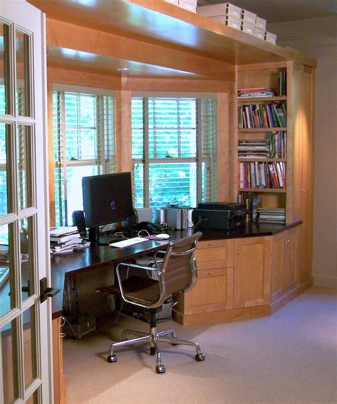 Home Office Desk Window Built In Desk Soffit Window Trim And Bookcase