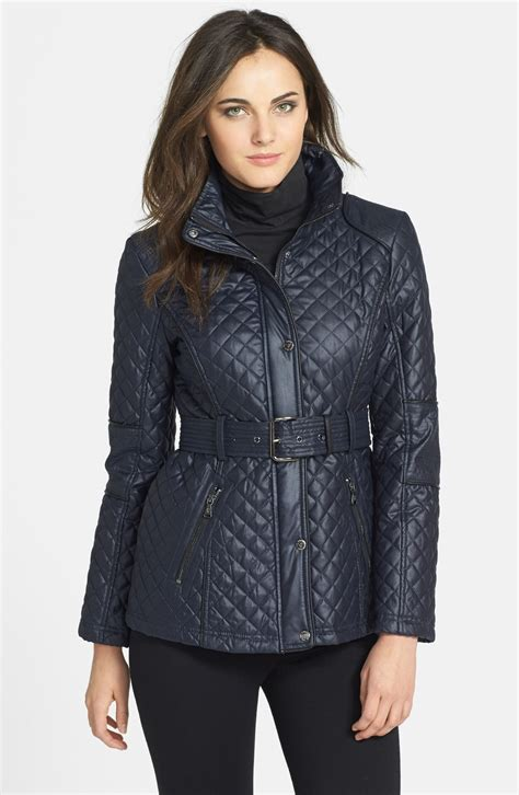 Belted Quilted Jacket guess belted quilted jacket in blue navy lyst