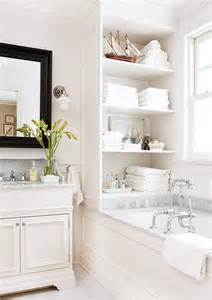 Decorative Open Shelving White Bathroom Marble Open Shelving Decor